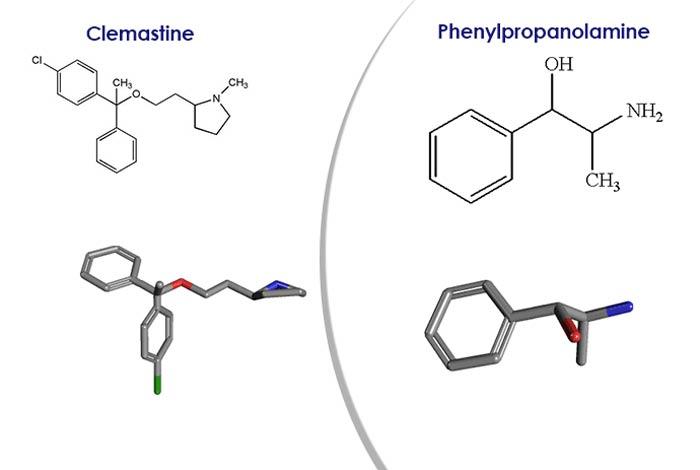 clemastine, phenylpropanolamine