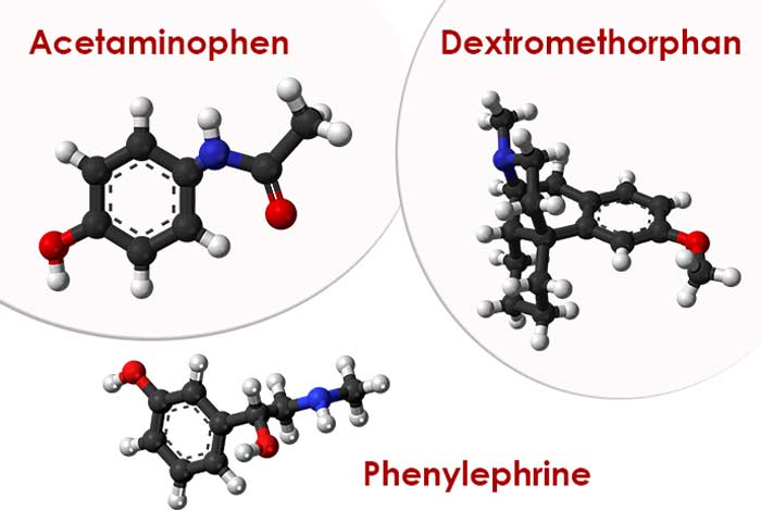 acetaminophen, dextromethorphan, phenylephrine