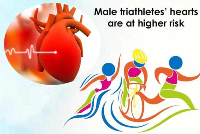 male triathletes hearts are at higher risk