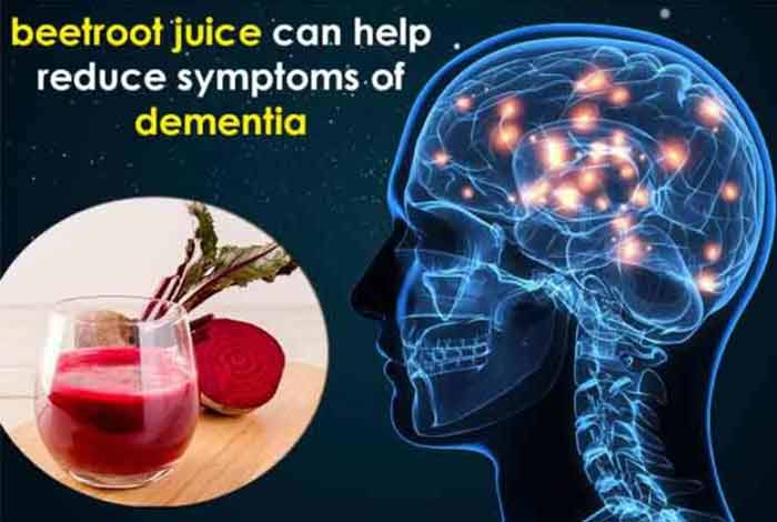 nitrate rich diet and beetroot juice can help reduce symptoms of dementia