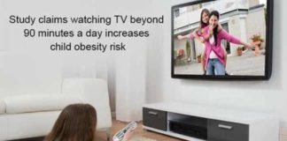study claims watching TV beyond 90 minutes a day increases child obesity risk